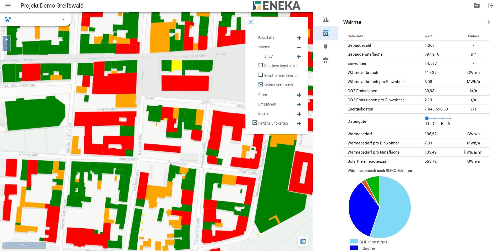 Greifswald Karte Energie Wärmebedarf